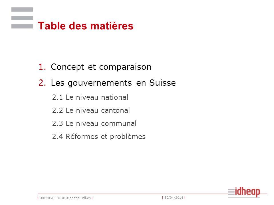 Table des matières Concept et comparaison Les gouvernements en Suisse
