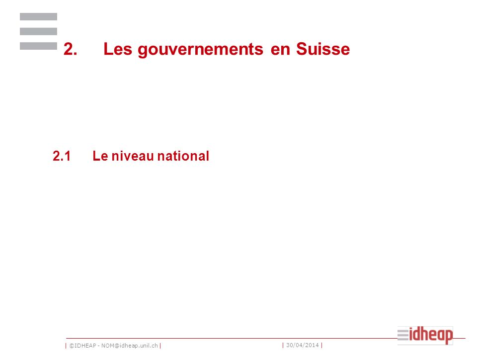 2. Les gouvernements en Suisse