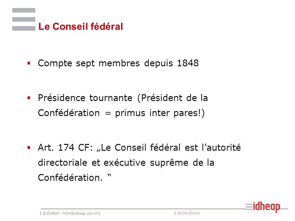 Le Conseil fédéral Compte sept membres depuis 1848
