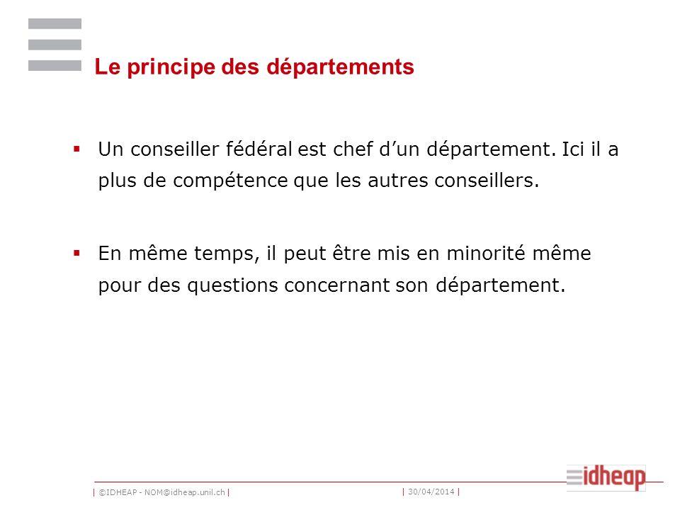 Le principe des départements