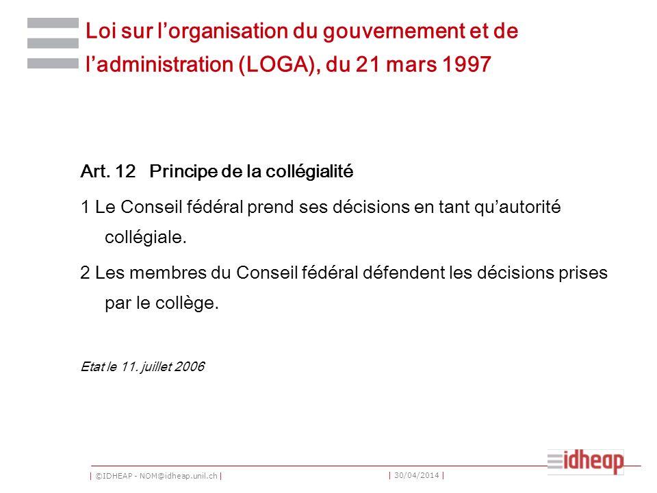 Loi sur l'organisation du gouvernement et de l'administration (LOGA), du 21 mars 1997