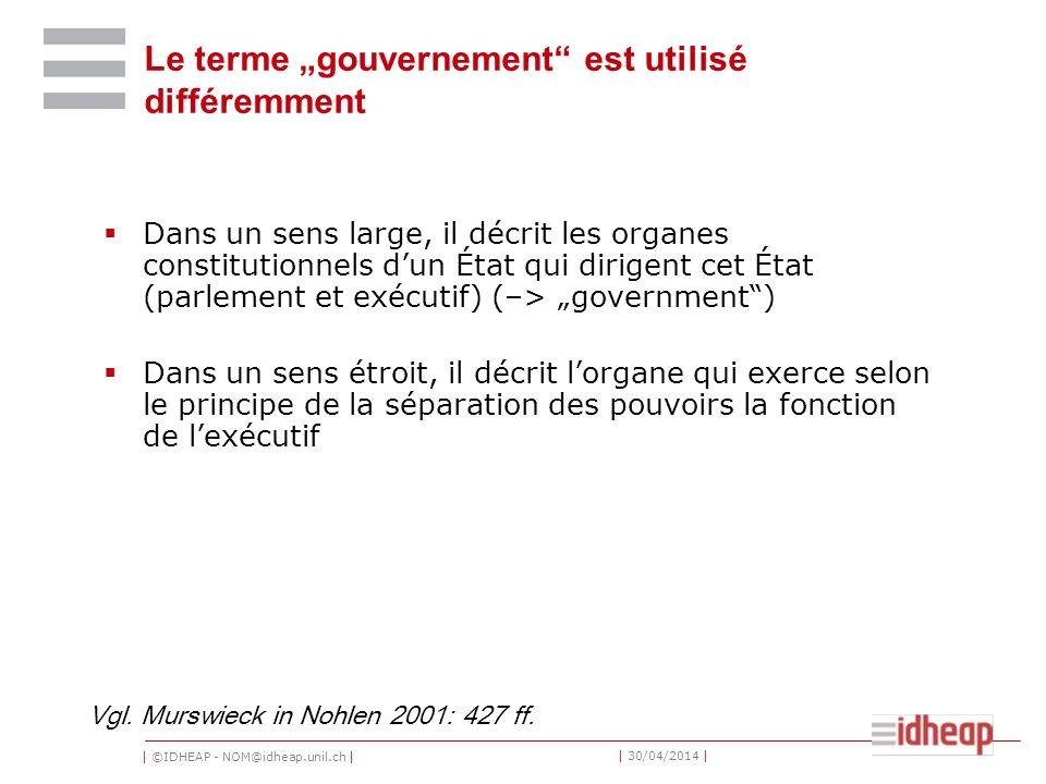 """Le terme """"gouvernement est utilisé différemment"""