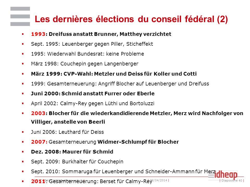 Les dernières élections du conseil fédéral (2)