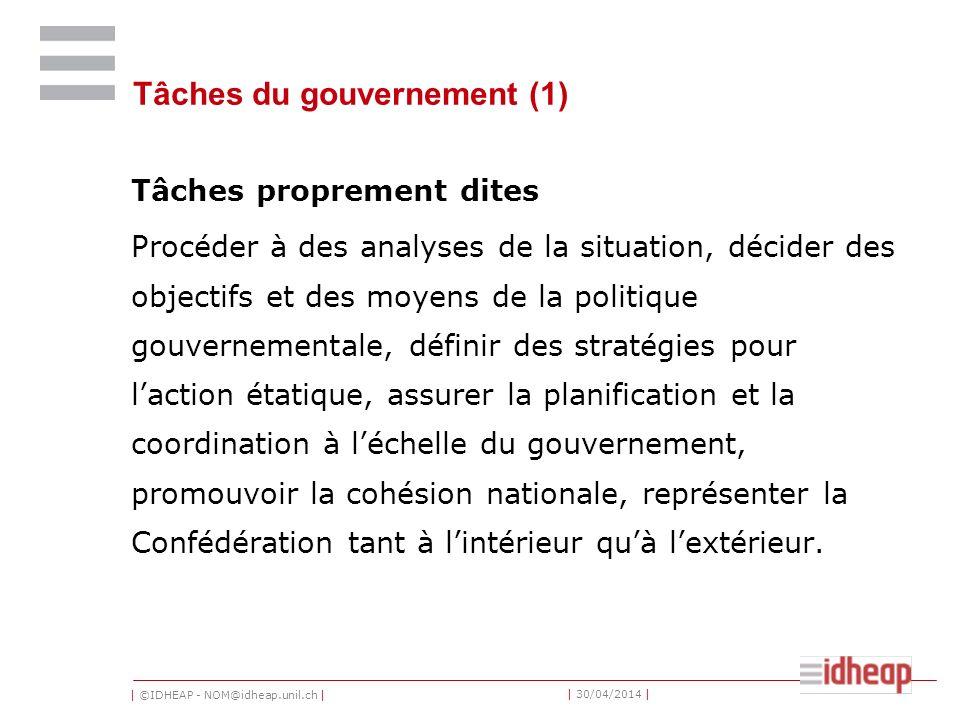 Tâches du gouvernement (1)