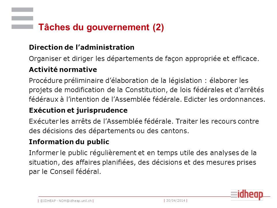 Tâches du gouvernement (2)