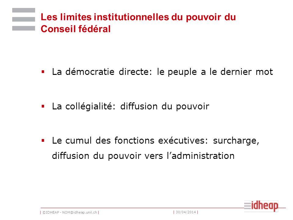Les limites institutionnelles du pouvoir du Conseil fédéral