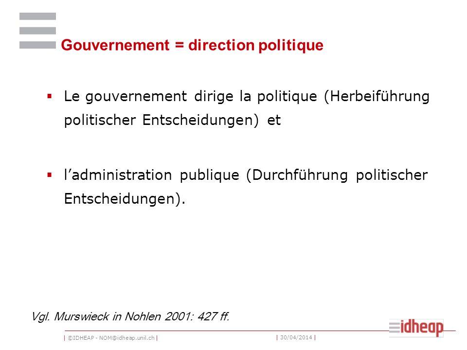 Gouvernement = direction politique