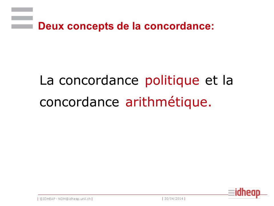 Deux concepts de la concordance: