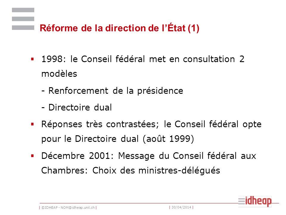 Réforme de la direction de l'État (1)