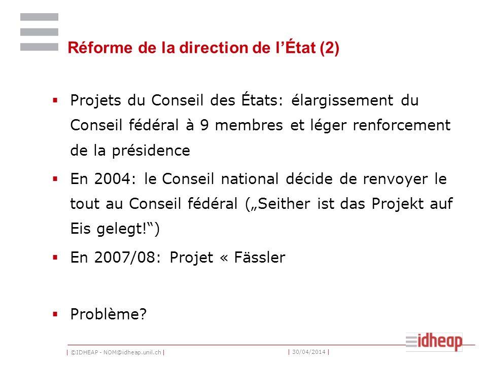 Réforme de la direction de l'État (2)