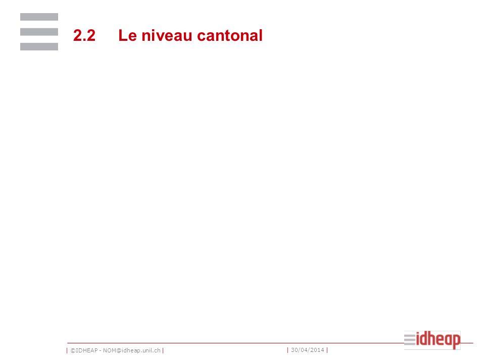 2.2 Le niveau cantonal