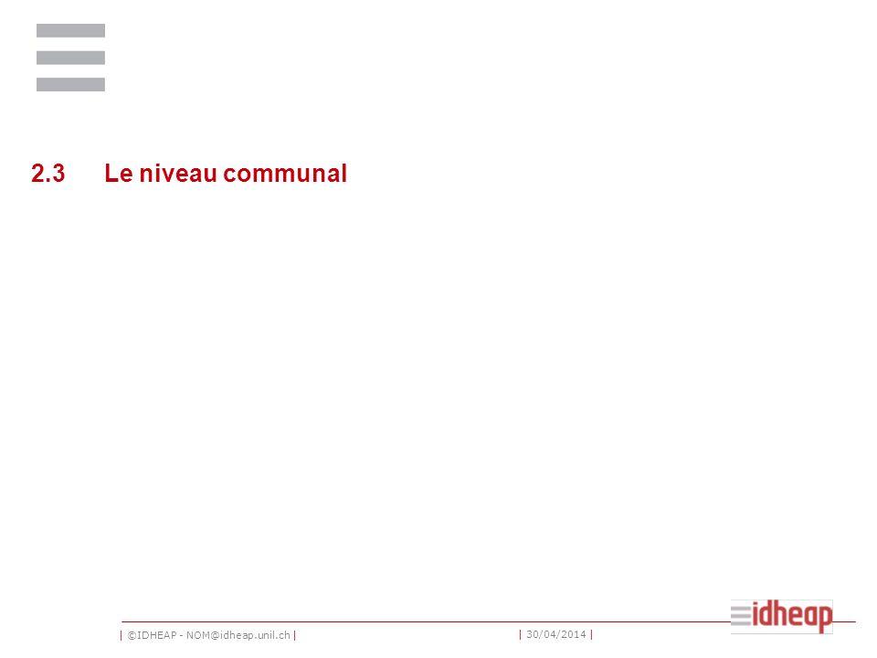 2.3 Le niveau communal