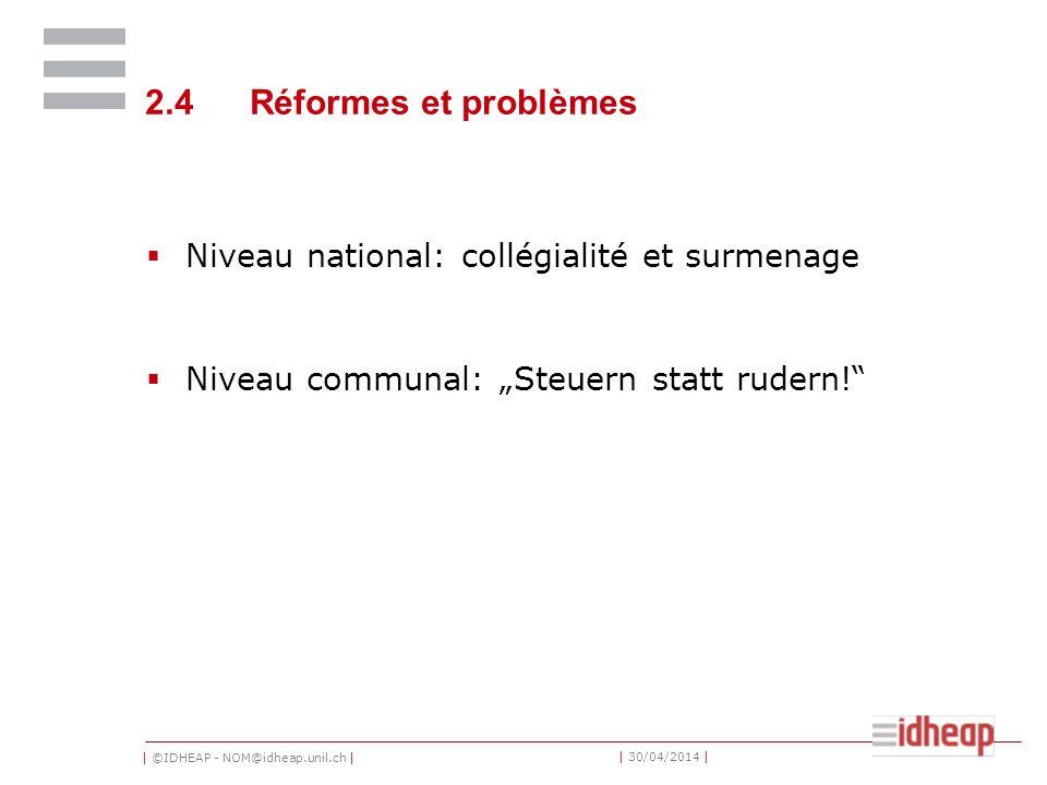 2.4 Réformes et problèmes Niveau national: collégialité et surmenage