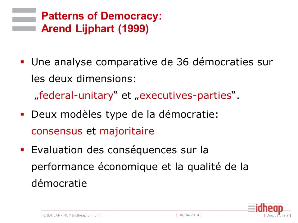 Patterns of Democracy: Arend Lijphart (1999)