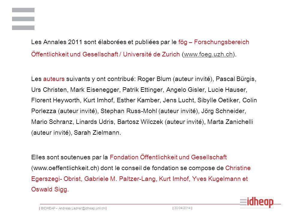 Les Annales 2011 sont élaborées et publiées par le fög – Forschungsbereich