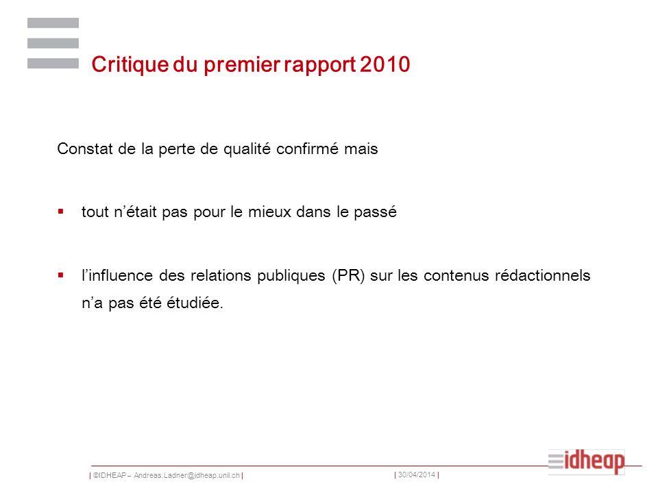 Critique du premier rapport 2010
