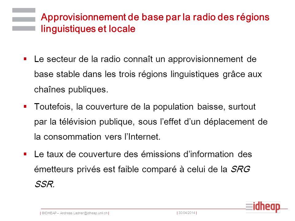 Approvisionnement de base par la radio des régions linguistiques et locale