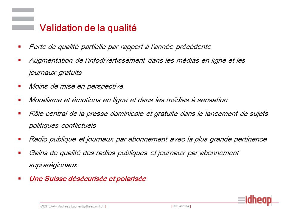 Validation de la qualité