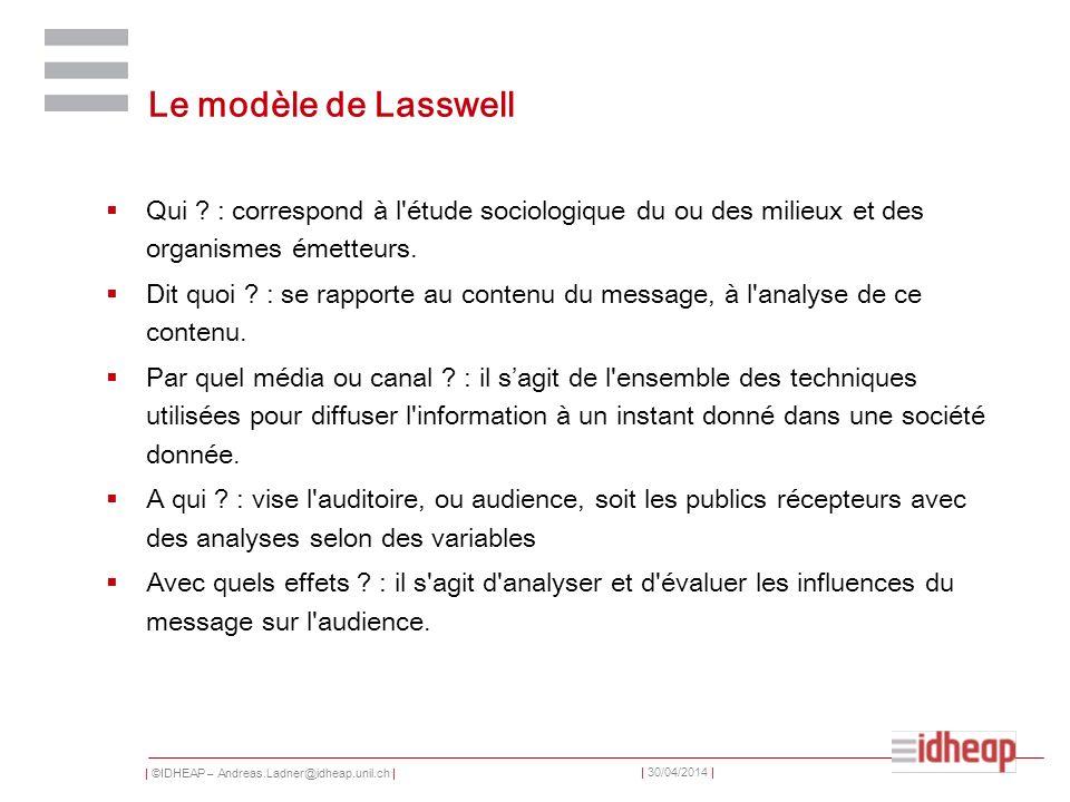 Le modèle de Lasswell Qui : correspond à l étude sociologique du ou des milieux et des organismes émetteurs.