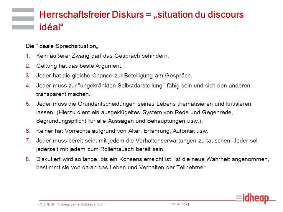 """Herrschaftsfreier Diskurs = """"situation du discours idéal"""