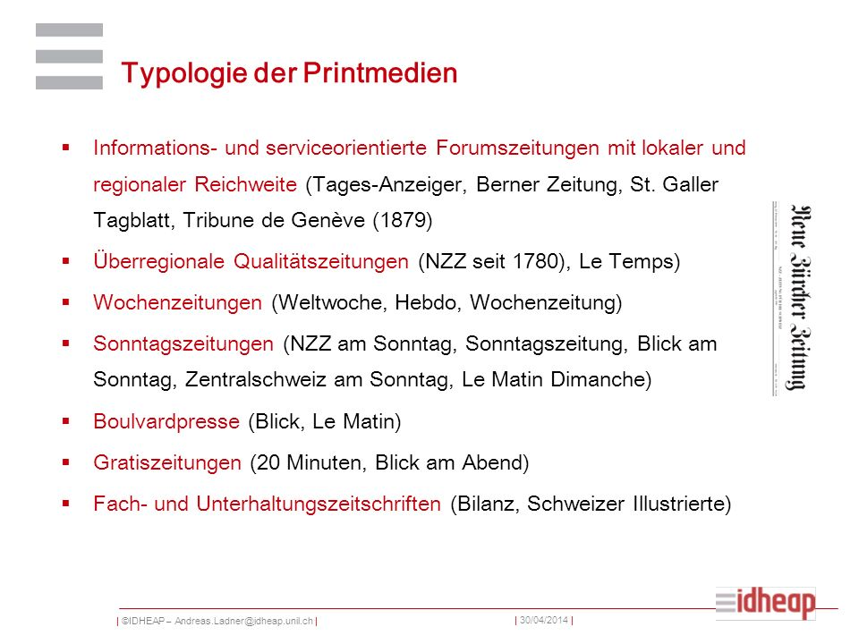 Typologie der Printmedien