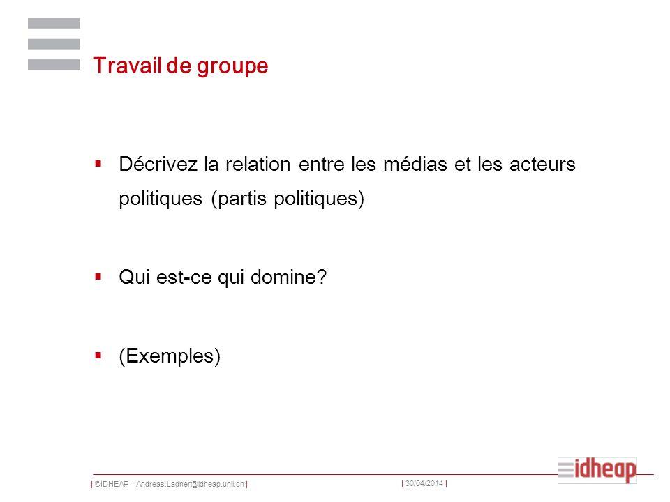 Travail de groupe Décrivez la relation entre les médias et les acteurs politiques (partis politiques)