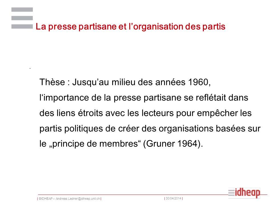 La presse partisane et l'organisation des partis