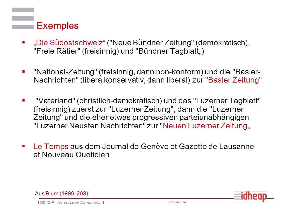 """Exemples """"Die Südostschweiz ( Neue Bündner Zeitung (demokratisch), Freie Rätier (freisinnig) und Bündner Tagblatt"""")"""