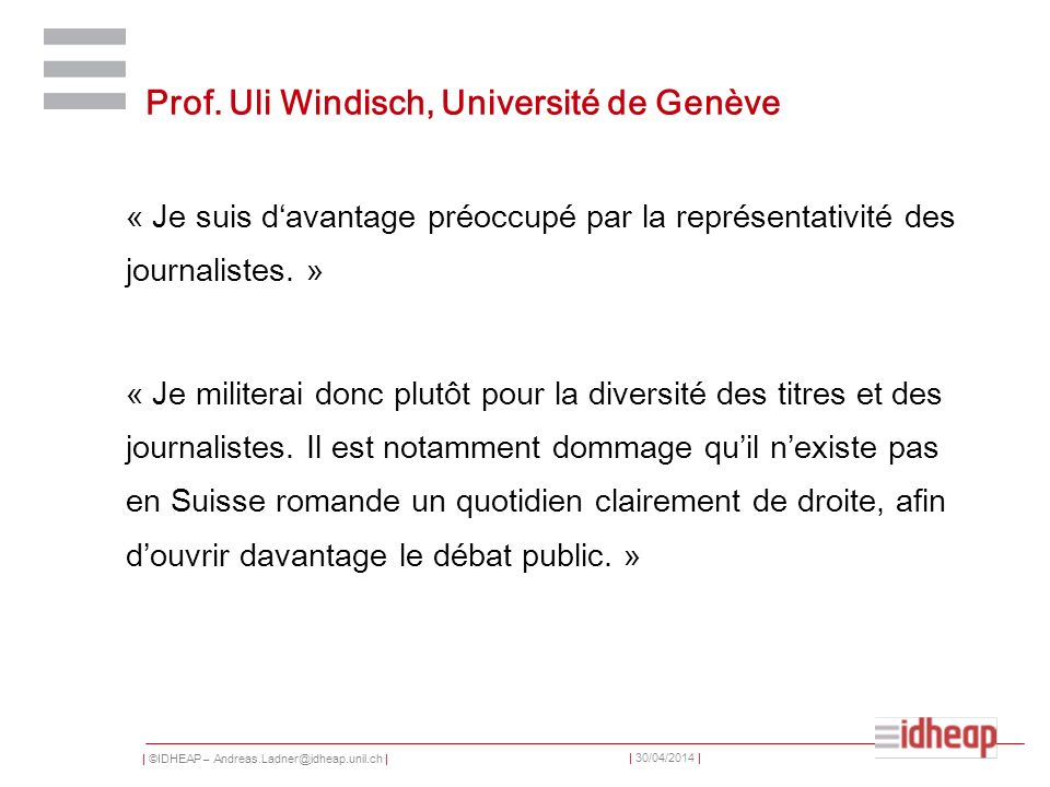 Prof. Uli Windisch, Université de Genève