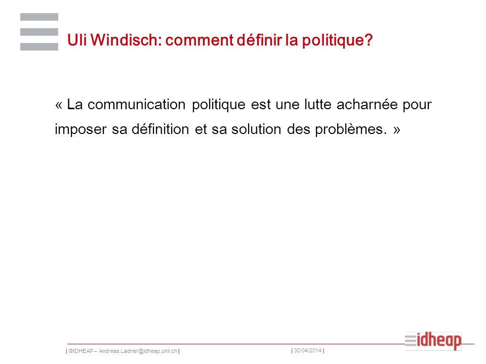 Uli Windisch: comment définir la politique