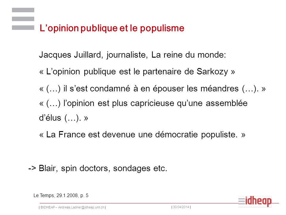 L'opinion publique et le populisme