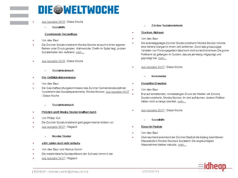 Aus Ausgabe 05/08 / Diese Woche Sozialhilfe Zürcher Sozialvorsteherin