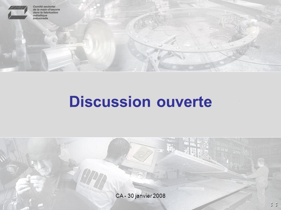 Discussion ouverte CA - 30 janvier 2008