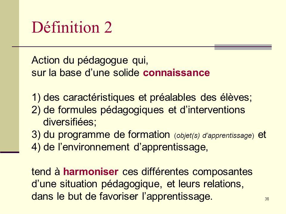 Définition 2 Action du pédagogue qui,