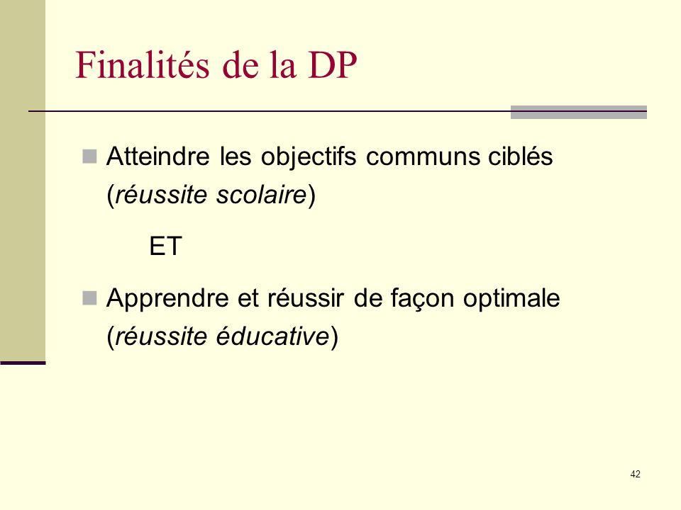 Finalités de la DP Atteindre les objectifs communs ciblés