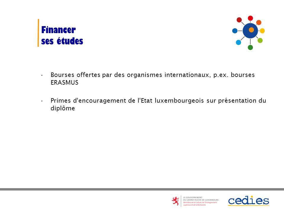 Financer ses études. Bourses offertes par des organismes internationaux, p.ex. bourses ERASMUS.