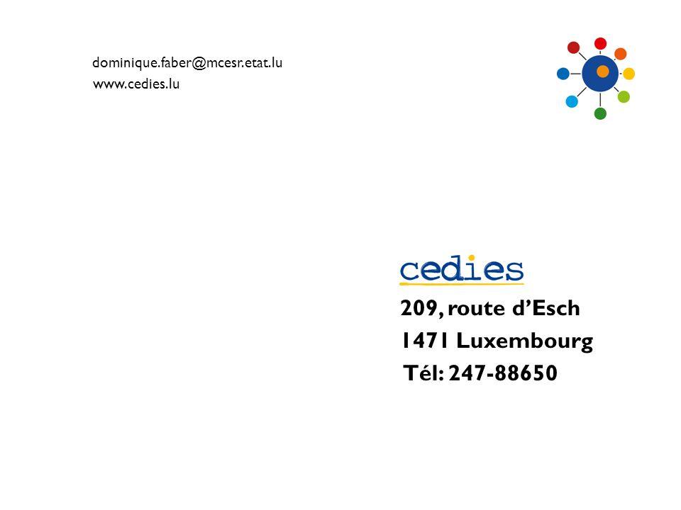 209, route d'Esch 1471 Luxembourg Tél: 247-88650
