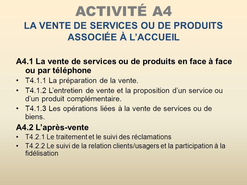 ACTIVITÉ A4 la vente de services OU DE PRODUITS associÉe À l'ACCUEIL