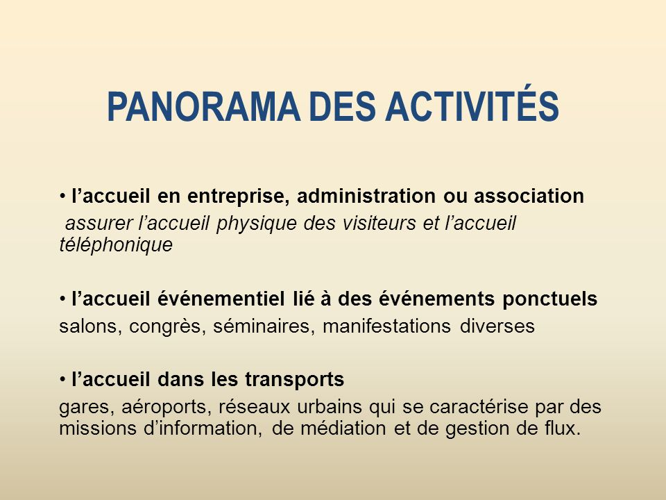 PANORAMA DES ACTIVITÉS