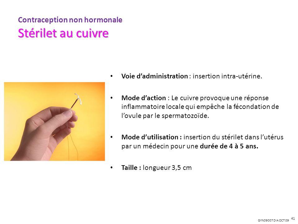 Stérilet au cuivre Contraception non hormonale