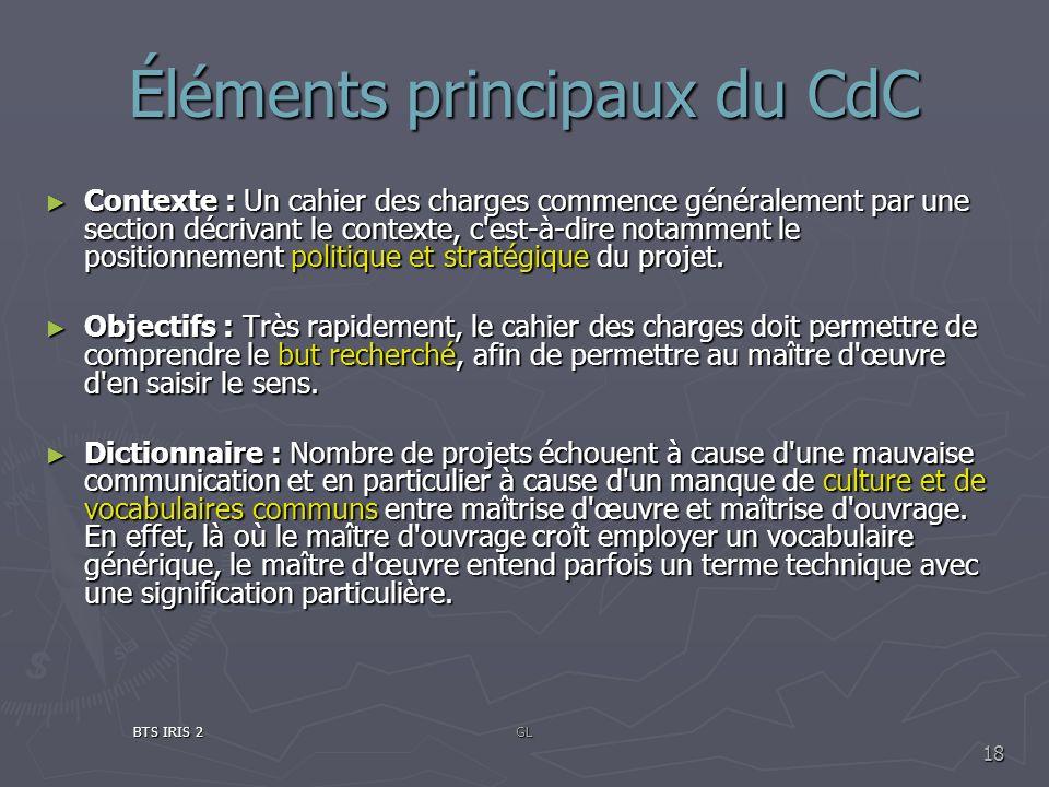 Éléments principaux du CdC