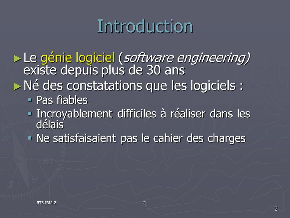 Introduction Le génie logiciel (software engineering) existe depuis plus de 30 ans. Né des constatations que les logiciels :
