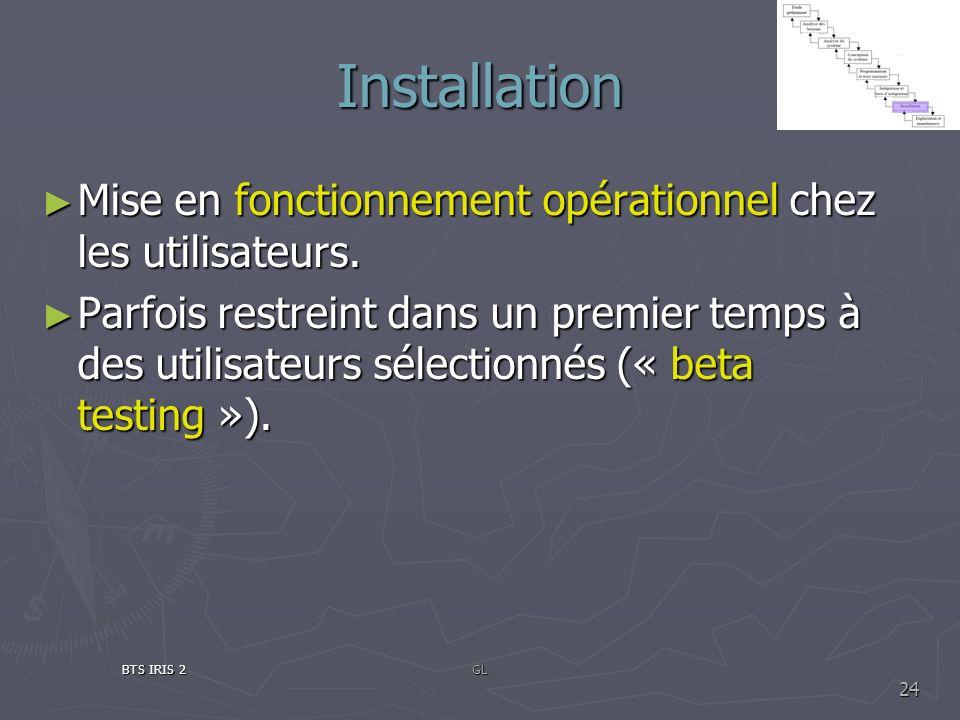 InstallationMise en fonctionnement opérationnel chez les utilisateurs.