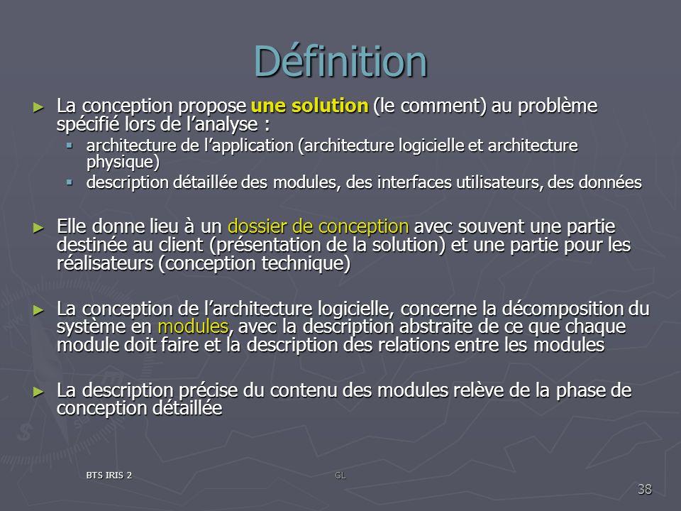 DéfinitionLa conception propose une solution (le comment) au problème spécifié lors de l'analyse :