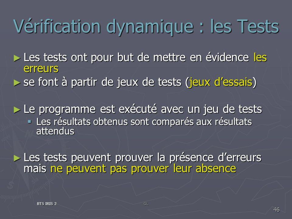 Vérification dynamique : les Tests