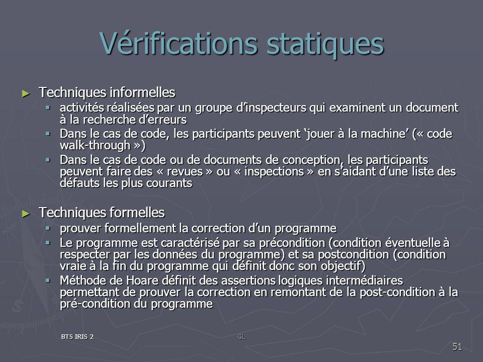 Vérifications statiques
