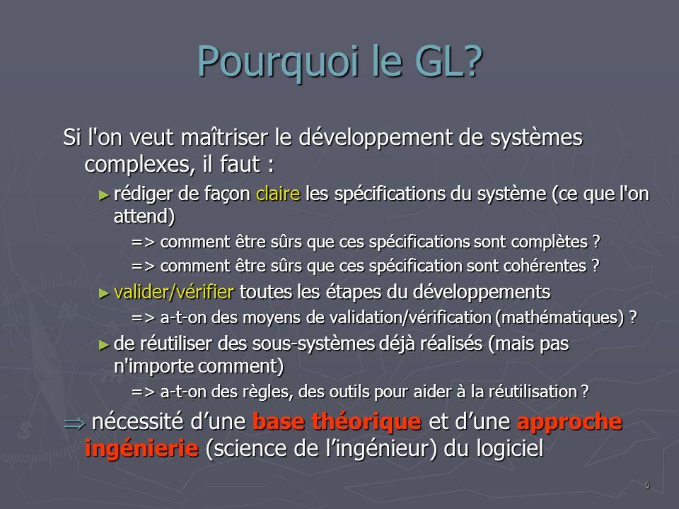 Pourquoi le GL Si l on veut maîtriser le développement de systèmes complexes, il faut :