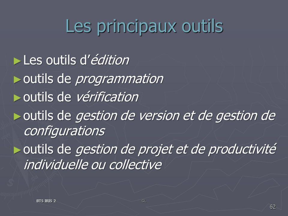 Les principaux outils Les outils d'édition outils de programmation