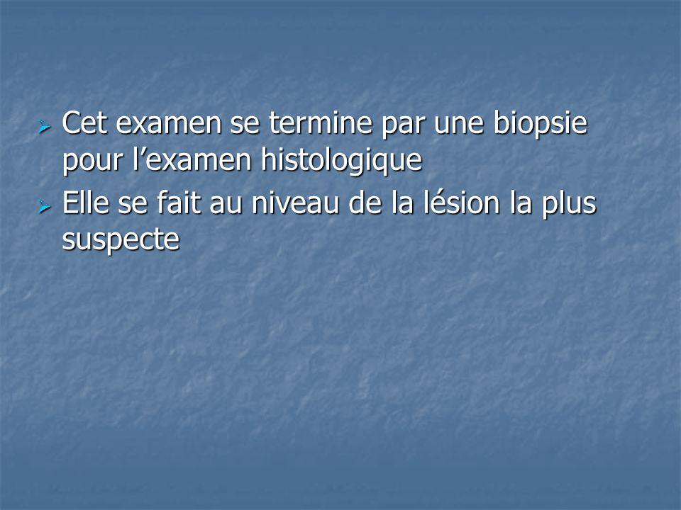 Cet examen se termine par une biopsie pour l'examen histologique