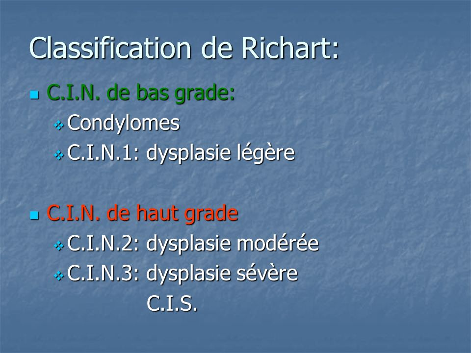 Classification de Richart: